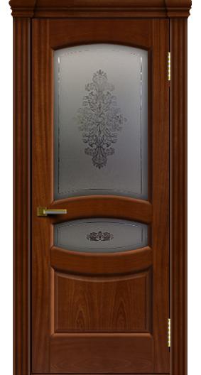 Дверь ЛайнДор Алина 2 красное дерево 10 стекло Алина 2 капитель 3 эл.