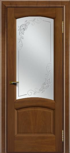 Двери ЛайнДор Анталия 2 американский орех тон 23 стекло 3Д Роза