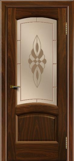 Двери ЛайнДор Анталия 2 американский орех тон 25 стекло Византия бронза