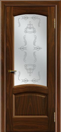 Двери ЛайнДор Анталия 2 американский орех тон 25 стекло Пальмира сатин