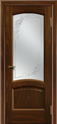 Двери ЛайнДор Анталия 2 американский орех тон 25 стекло 3Д Роза