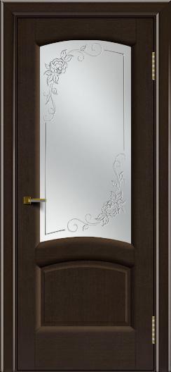 Двери ЛайнДор Анталия 2 венге тон 12 стекло 3Д Роза
