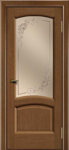 Двери ЛайнДор Анталия 2 дуб тон 5 стекло 3Д Роза бронза
