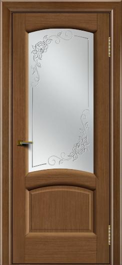 Двери ЛайнДор Анталия 2 дуб тон 5 стекло 3Д Роза