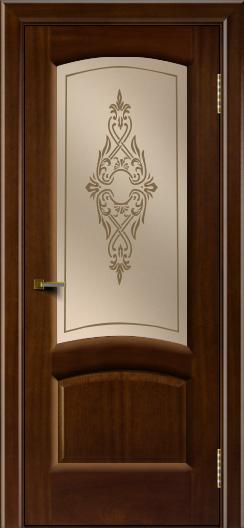 Двери ЛайнДор Анталия 2 красное дерево тон 10 стекло Айрис бронза
