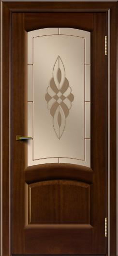 Двери ЛайнДор Анталия 2 красное дерево тон 10 стекло Византия бронза