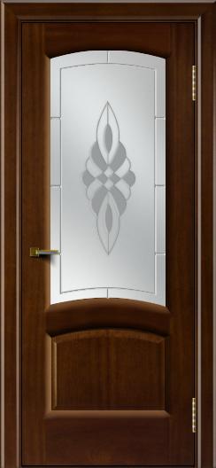 Двери ЛайнДор Анталия 2 красное дерево тон 10 стекло Византия