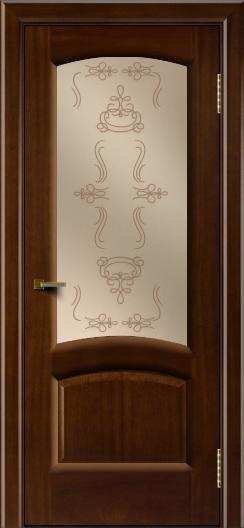 Двери ЛайнДор Анталия 2 красное дерево тон 10 стекло Пальмира бронза