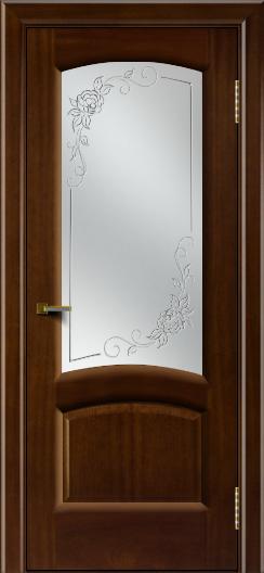 Двери ЛайнДор Анталия 2 красное дерево тон 10 стекло 3Д Роза