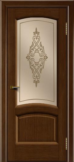 Двери ЛайнДор Анталия 2 орех тон 2 стекло Айрис бронза