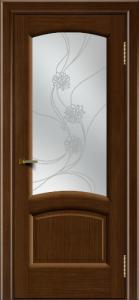 Двери ЛайнДор Анталия 2 орех тон 2 стекло Астра наливка