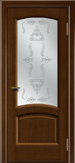 Двери ЛайнДор Анталия 2 орех тон 2 стекло Пальмира сатин