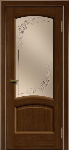 Двери ЛайнДор Анталия 2 орех тон 2 стекло 3Д Роза бронза