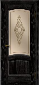 Двери ЛайнДор Анталия 2 эмаль черная тон 26 стекло Айрис бронза