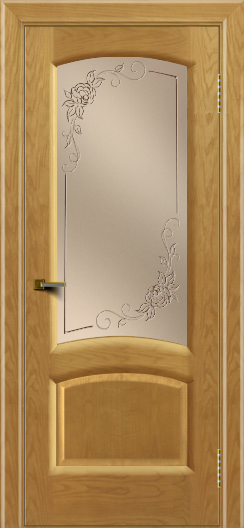 Двери ЛайнДор Анталия 2 ясень тон 24 стекло 3Д Роза бронза