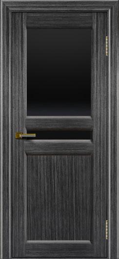 Дверь ЛайнДор Кристина 2 абрикос 22 верхнее черное стекло