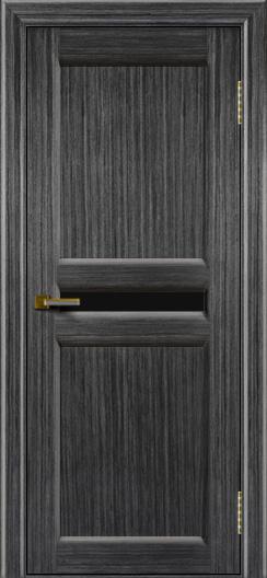 Дверь ЛайнДор Кристина 2 абрикос 22 малое черное стекло