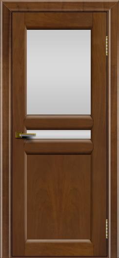 Дверь ЛайнДор Кристина 2 американский орех 23 верхнее белое стекло