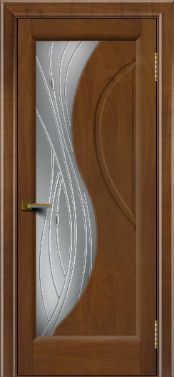 Дверь ЛайнДор Прага Американский орех 23 стекло Волна