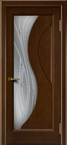 Двери ЛайнДор Прага 2 Орех 2 стекло Волна