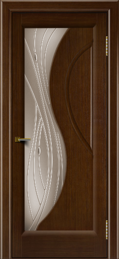 Двери ЛайнДор Прага 2 тон 2 стекло Волна бронза