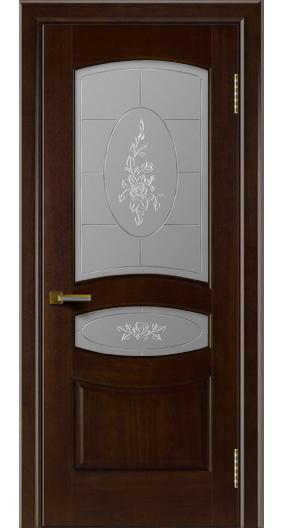 Двери ЛайнДор Алина красное дерево тон 18 стекло Роза