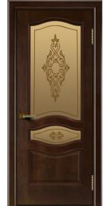 Двери ЛайнДор Амелия красное дерево тон 18 стекло Айрис