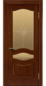 Двери ЛайнДор Амелия красное дерево тон 10 стекло Амелия