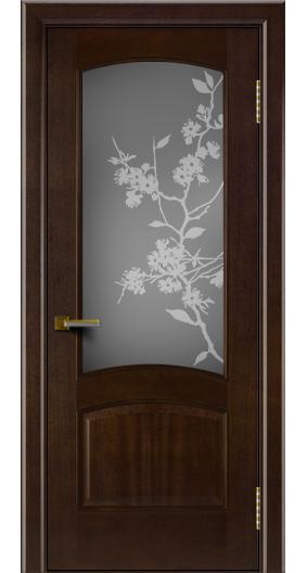 Двери ЛайнДор Анталия красное дерево тон 18 стекло Сакура