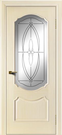 Двери ЛайнДор Богема беленый дуб тон 16 стекло Белое