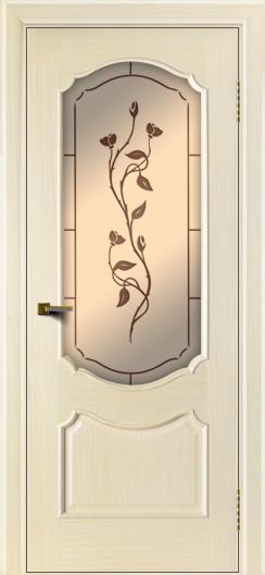 Двери ЛайнДор Богема беленый дуб тон 16 стекло Маки