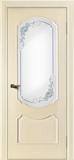 Двери ЛайнДор Богема беленый дуб тон 16 стекло Роза