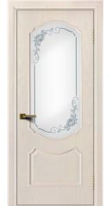 Двери ЛайнДор Богема жемчуг тон 27 стекло 3Д Роза