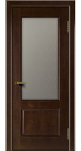 Двери ЛайнДор Кантри красное дерево тон 18 стекло Кантри 1