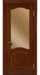 Двери ЛайнДор Пронто красное дерево тон 10 стекло Лондон бронза