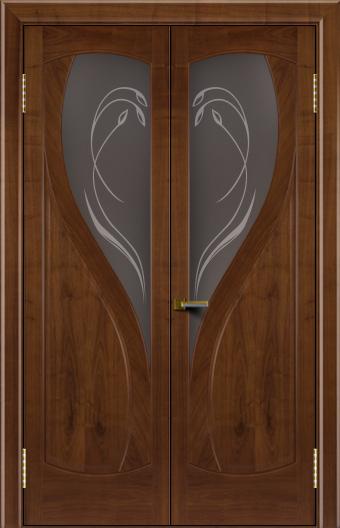 Двери Лайндор модель Новый стиль американский орех 23 двойная стекло