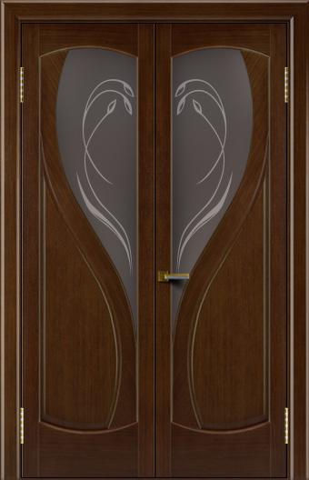 Двери Лайндор модель Новый стиль орех 2 двойная стекло