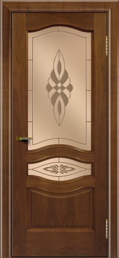 Двери ЛайнДор Амелия америеанский орех тон 23 стекло Византия бронза