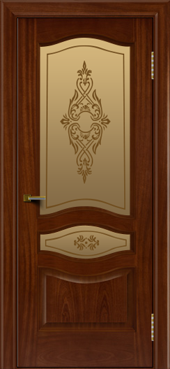 Двери ЛайнДор Амелия красное дерево тон 10 стекло Айрис