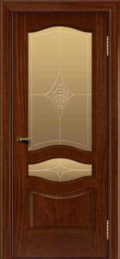 Двери ЛайнДор Амелия красное дерево тон 10 стекло Амелия бронза