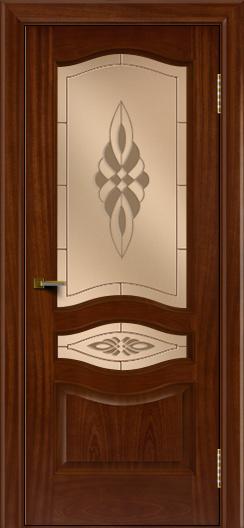 Двери ЛайнДор Амелия красное дерево тон 10 стекло Византия бронза