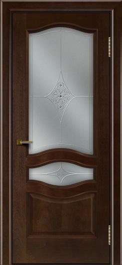 Двери ЛайнДор Амелия красное дерево тон 18 стекло Амелия