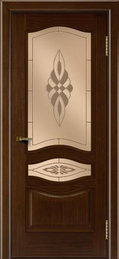 Двери ЛайнДор Амелия орех тон 2 стекло Византия бронза