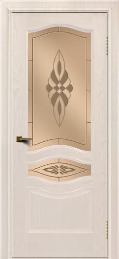 Двери ЛайнДор Амелия ясень жемчуг тон 27 стекло Византия бронза
