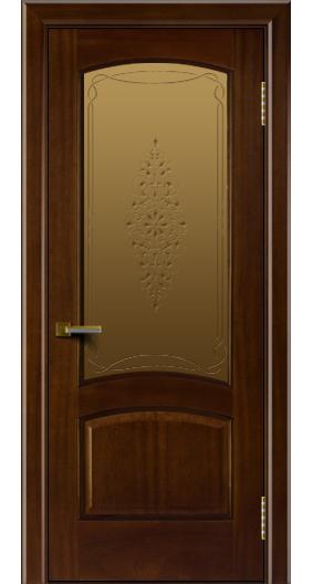 Двери ЛайнДор Анталия красное дерево тон 10 стекло Вива