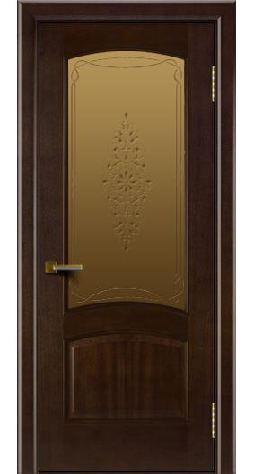 Двери ЛайнДор Анталия красное дерево тон 18 стекло Вива