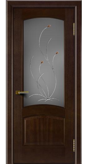 Двери ЛайнДор Анталия красное дерево тон 18 стекло Ковыль
