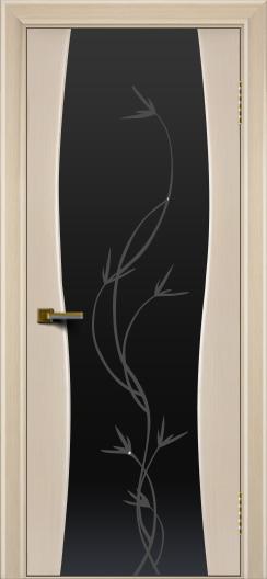 Двери ЛайнДор Арабика беленый дуб тон 16 стекло Флора