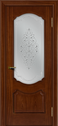 Двери ЛайнДор Богема красное дерево тон 10 стекло Вива сатин