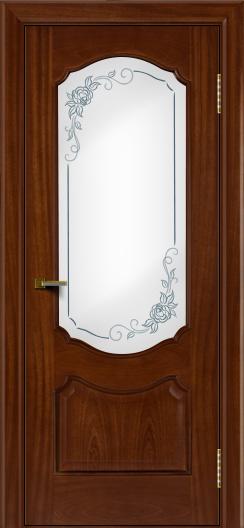 Двери ЛайнДор Богема красное дерево тон 10 стекло Роза